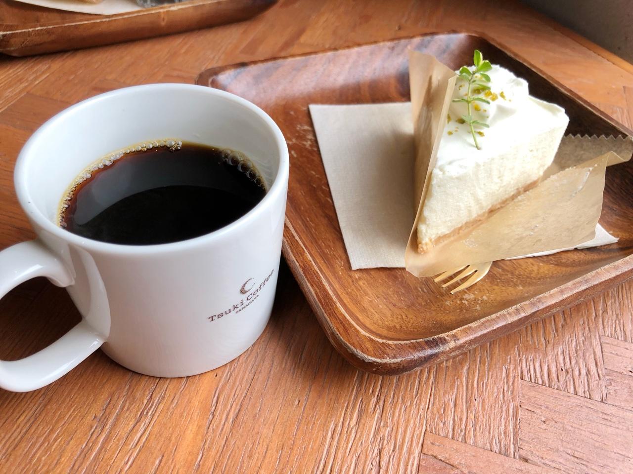 Tsuki Cafe 山形駅前 レアチーズケーキ コーヒー